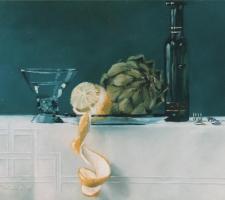 Glas citroen artisjok witte wijn