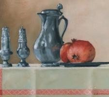 Stilleven Tin en granaatappels 40 x 30 cm (verkocht)
