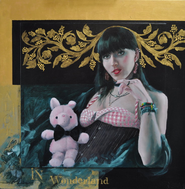 Alice in Wonderland Oil on panel, gold leaf, framed 60 x 60 cm 2.300 euro