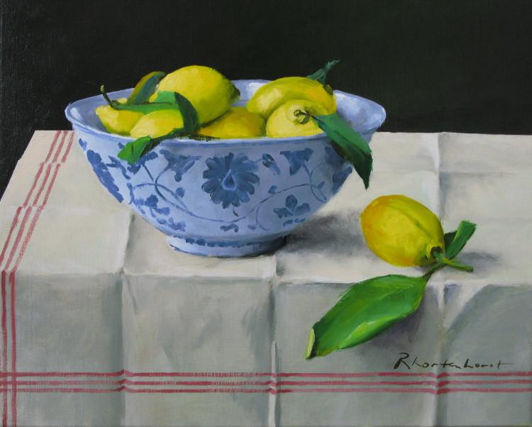 Te Koop, rudolf kortenhorst, chinese schaal met citroenen, tafelkleed met vouwen, zwarte achtergrond