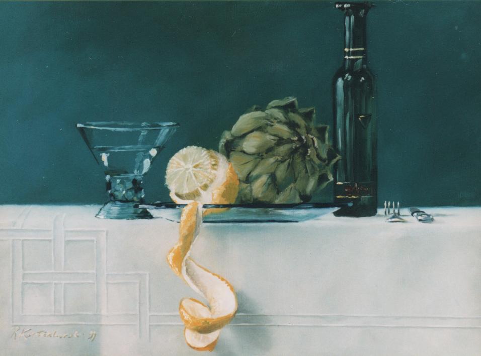 Glas citroen artisjok witte wijn, olie op paneel, 40 x 30 cm €1.200