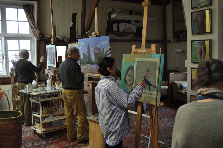 Jochem Oerlemans, Hendrick Bentinck, Aldi Christoffels, Theresia Jutte atelier kunstenaar schilder Den Haag schilder kunstschilder Rudolf Kortenhorst