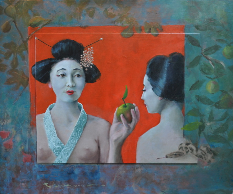 Temptation (M)Adam & Eve Oil on panel, framed 74 x 60 €2.450