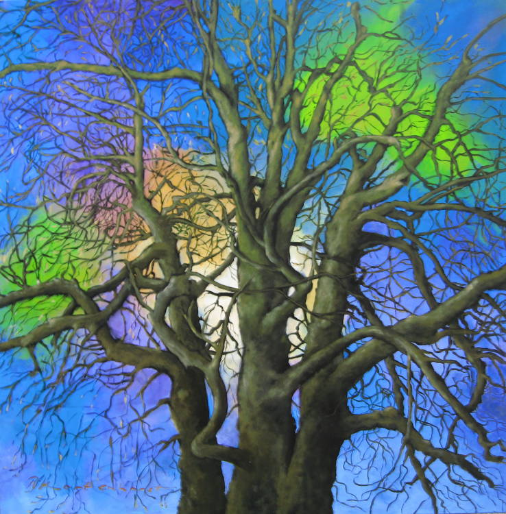 Unity of races, Verbinding der Volkeren Anne Frank Tree, AcrylicOil on canvas 140 x 140 cm €5.000