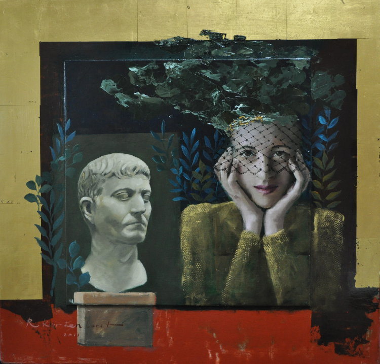 Waiting for love Oil on panel, gold leaf, framed 63 x 61 cm 2.550 euro